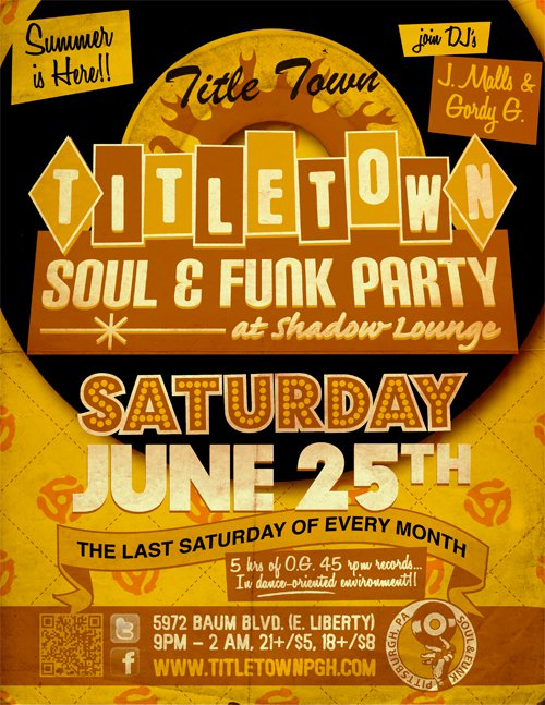 Title Town Soul & Funk Party - June 25th at Shadow Lounge